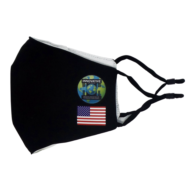 Picture of L Black Fabric Mask                         INNO LOGO & USA FLAG    5, 10  & 25  pcs./pack
